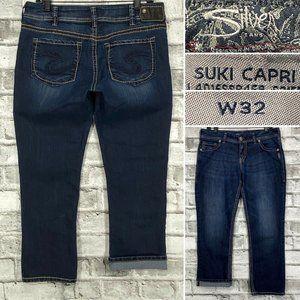 Silver Jeans Suki Capri W32 Cropped Stretch Dark
